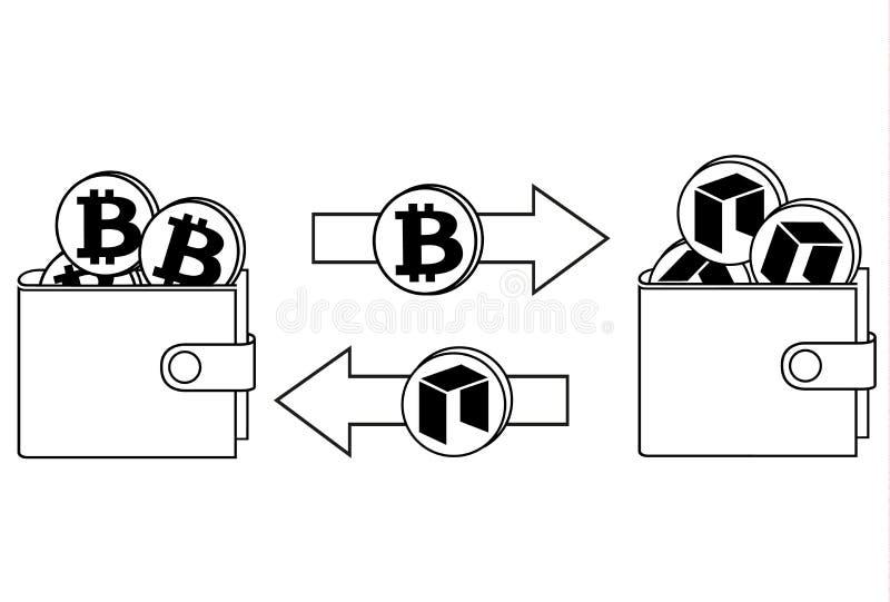 Обмен между bitcoin и нео в бумажнике иллюстрация штока