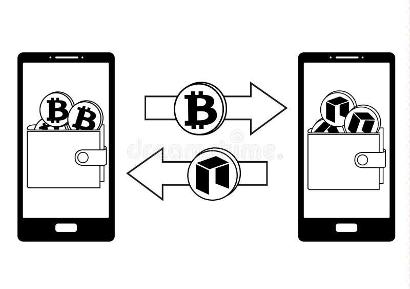 Обмен между bitcoin и нео в телефоне бесплатная иллюстрация