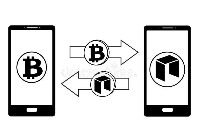 Обмен между bitcoin и нео в телефоне иллюстрация вектора