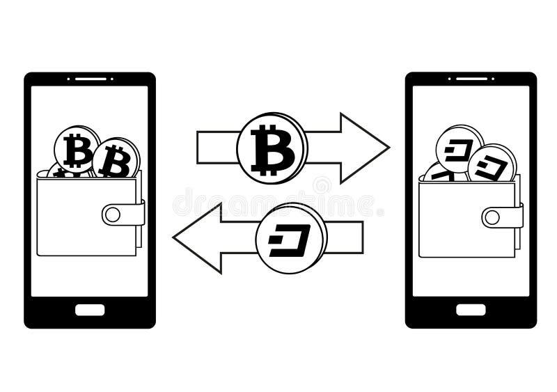Обмен между bitcoin и черточкой в телефоне бесплатная иллюстрация
