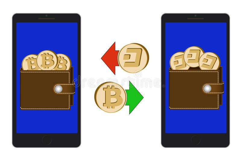 Обмен между bitcoin и черточкой в телефоне иллюстрация вектора