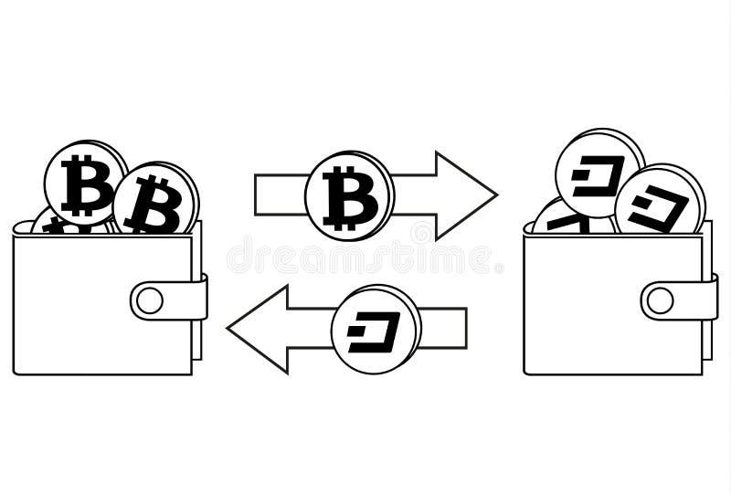 Обмен между bitcoin и черточкой в walle иллюстрация вектора