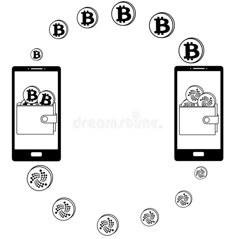 Обмен между bitcoin и iota в телефоне бесплатная иллюстрация