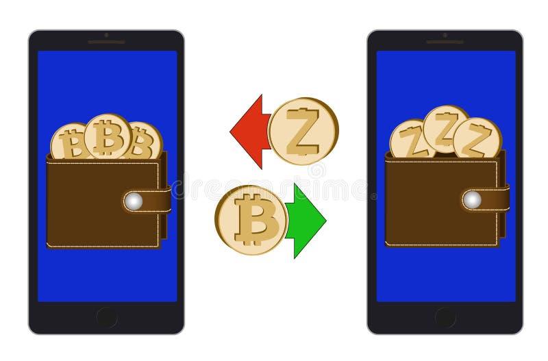 Обмен между bitcoin и zcash в телефоне иллюстрация вектора