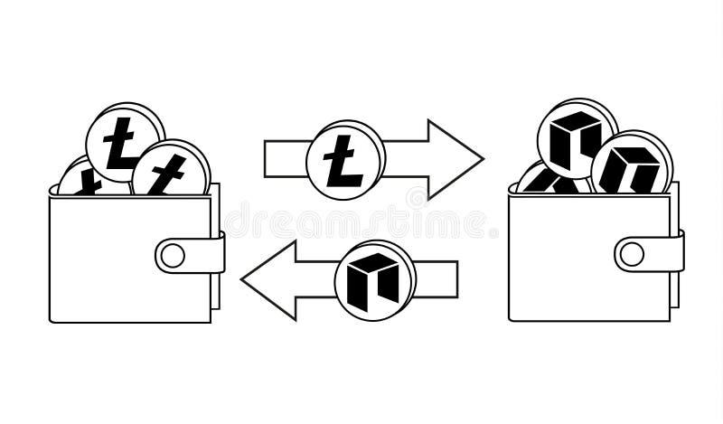 Обмен между litecoin и нео в walle иллюстрация вектора