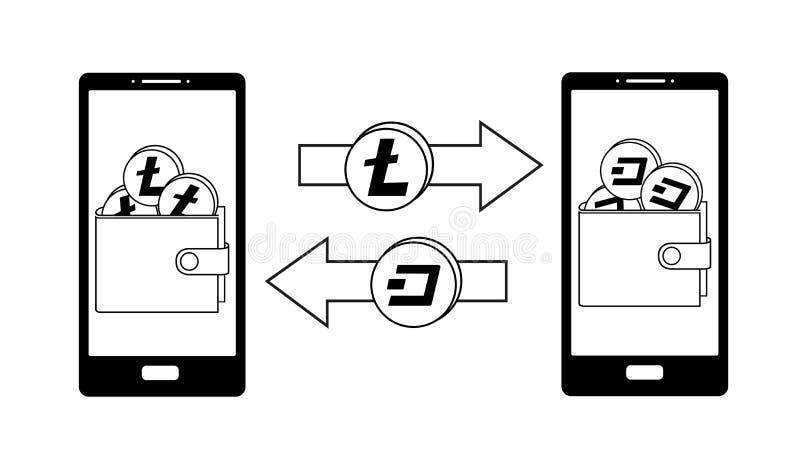 Обмен между litecoin и черточкой в телефоне иллюстрация вектора