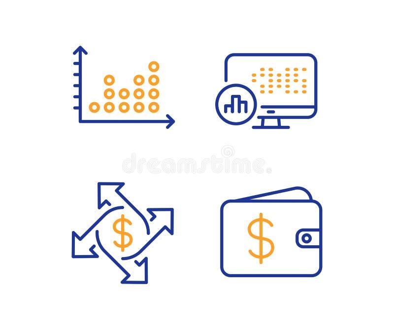 Обмен оплаты, график точки и статистика отчета набор значков Знак бумажника доллара r бесплатная иллюстрация