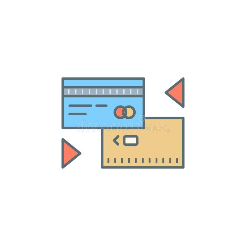 обмен фунта к линии значку стиля сумрака кредитной карточки Элемент значка банка для передвижных apps концепции и сети Exch фунта иллюстрация вектора