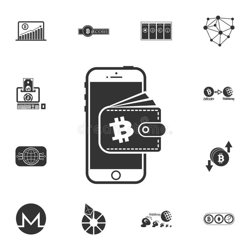 обмен bitcoin, минирование bitcoin, передвижной банк мобильный телефон с значком bitcoin и бумажника Секретные значки набора валю иллюстрация вектора