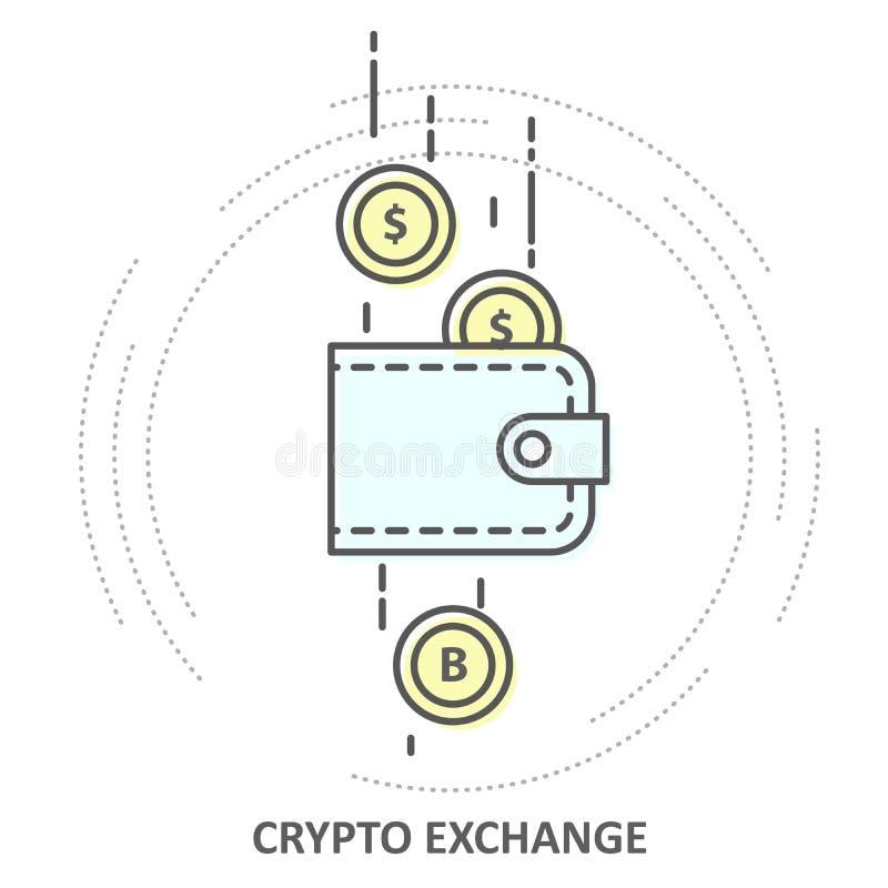 Обмен Cryptocurrency - секретный значок бумажника и монетки, конвертируемость иллюстрация штока