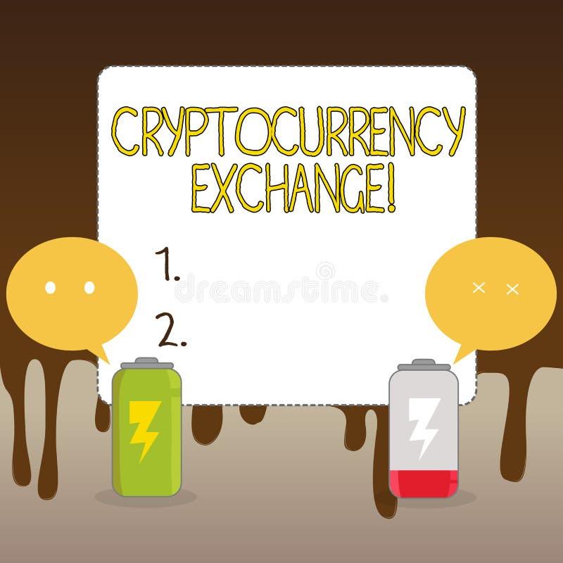 Обмен Cryptocurrency текста почерка Дело смысла концепции позволяет клиентам торговать cryptocurrencies полно бесплатная иллюстрация