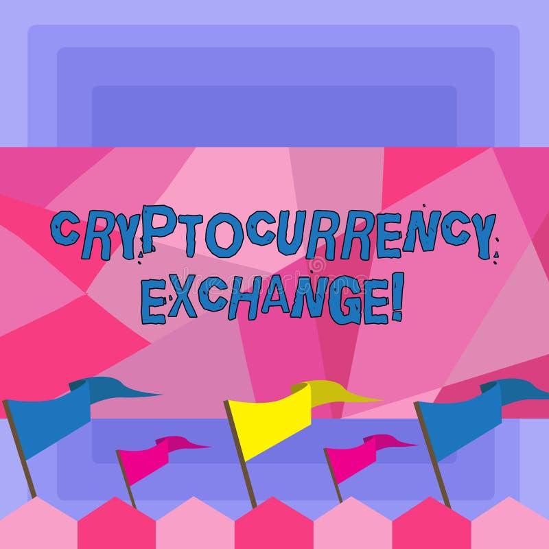 Обмен Cryptocurrency текста почерка Дело смысла концепции позволяет клиентам торговать пробелом cryptocurrencies иллюстрация вектора