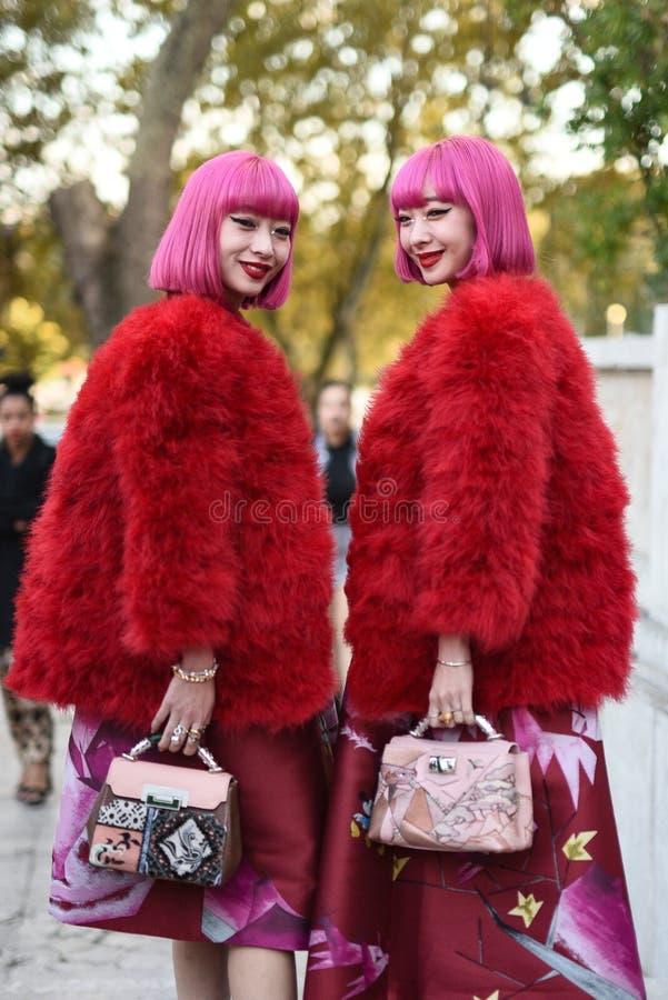 Обмундирования стиля улицы на неделе моды Парижа стоковое фото rf