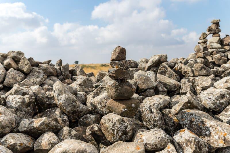 Обмылки megalithic комплекса предыдущих колес духов, al-Hiri бронзового века Rujum, Gilgal Rephaeem на Golan Hei стоковые изображения
