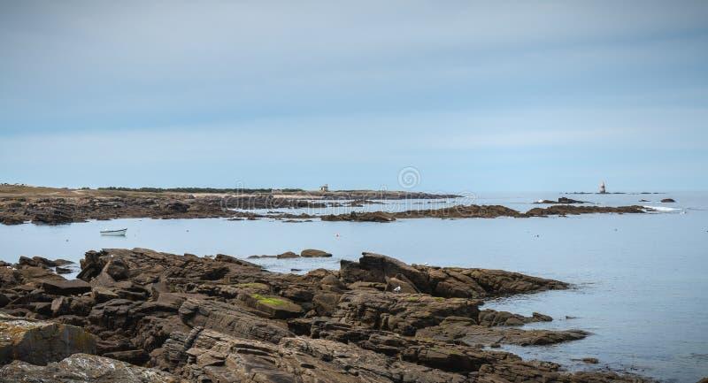 Обмылок семафора на Pointe du Но на острове Yeu стоковые изображения