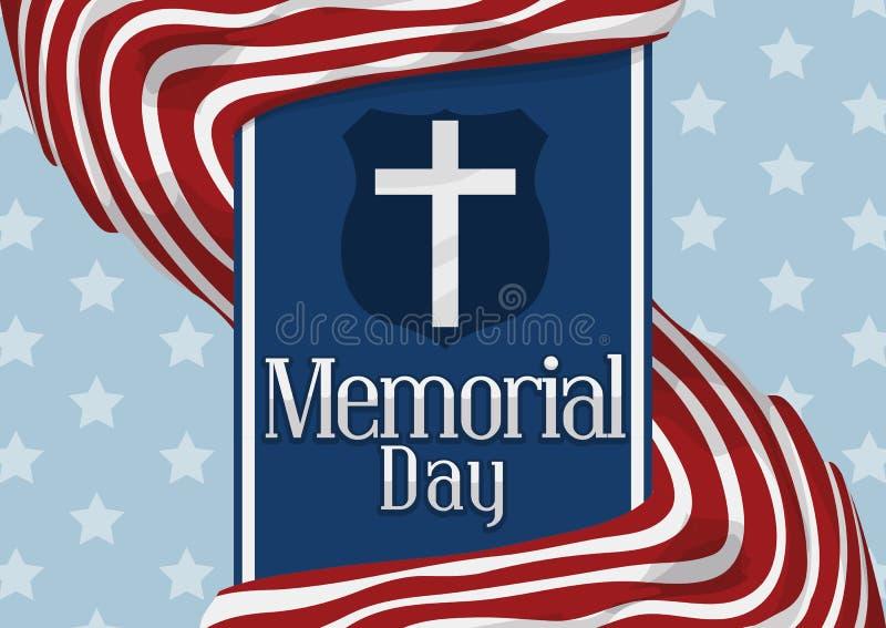 Обнажанные флаги вокруг голубой ленты чествуя американский День памяти погибших в войнах, иллюстрацию вектора иллюстрация штока