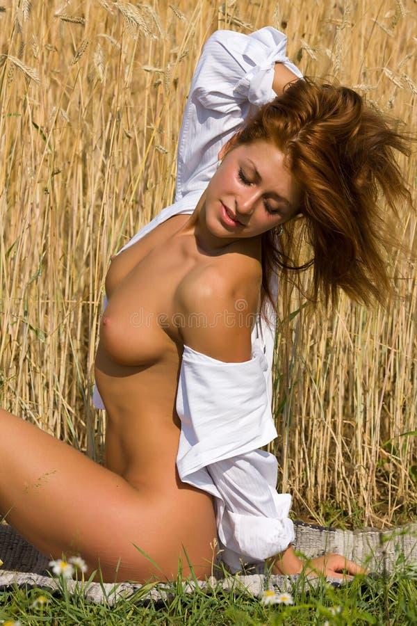Download Обнажённая девушка в поле. стоковое изображение. изображение насчитывающей секс - 37928203