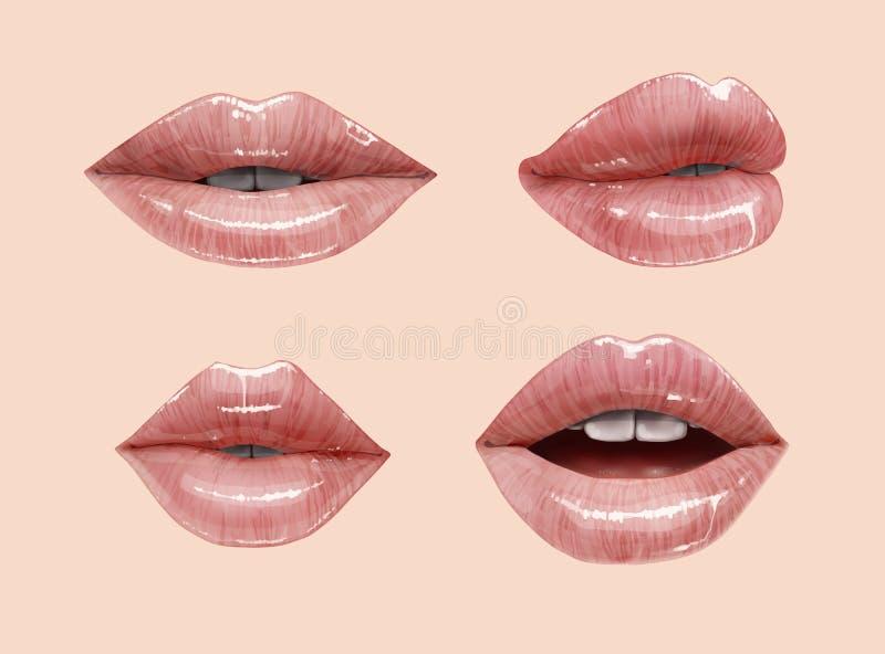 Обнажённые установленные губы иллюстрация штока