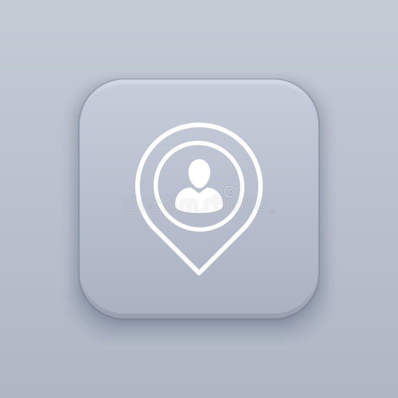Обнаружьте местонахождение кнопку людей, самый лучший вектор иллюстрация штока