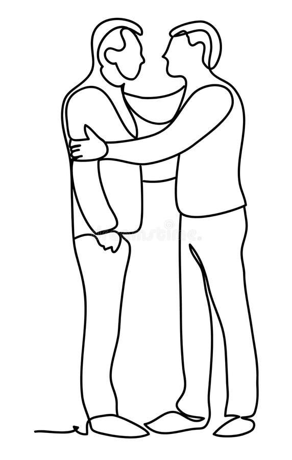 Обнимать людей Непрерывная линия чертеж Изолировано на белой предпосылке Monochrome вектора, рисуя линиями эскиз иллюстрация вектора