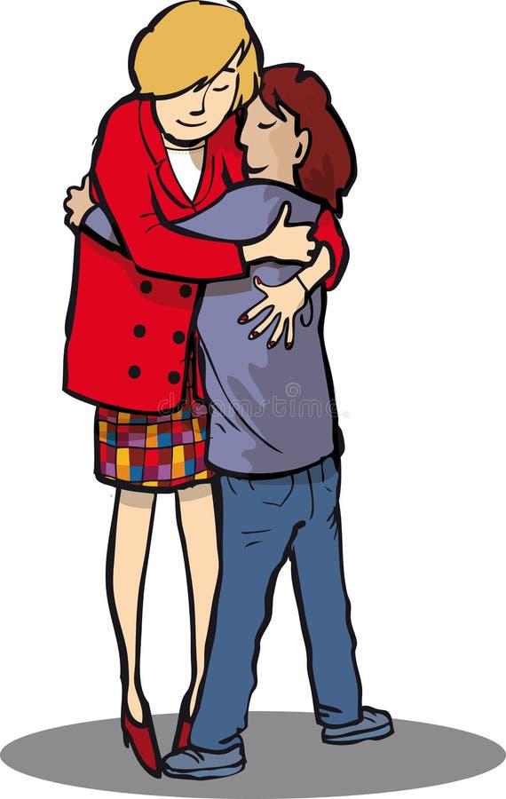 Обнимать 2 людей бесплатная иллюстрация