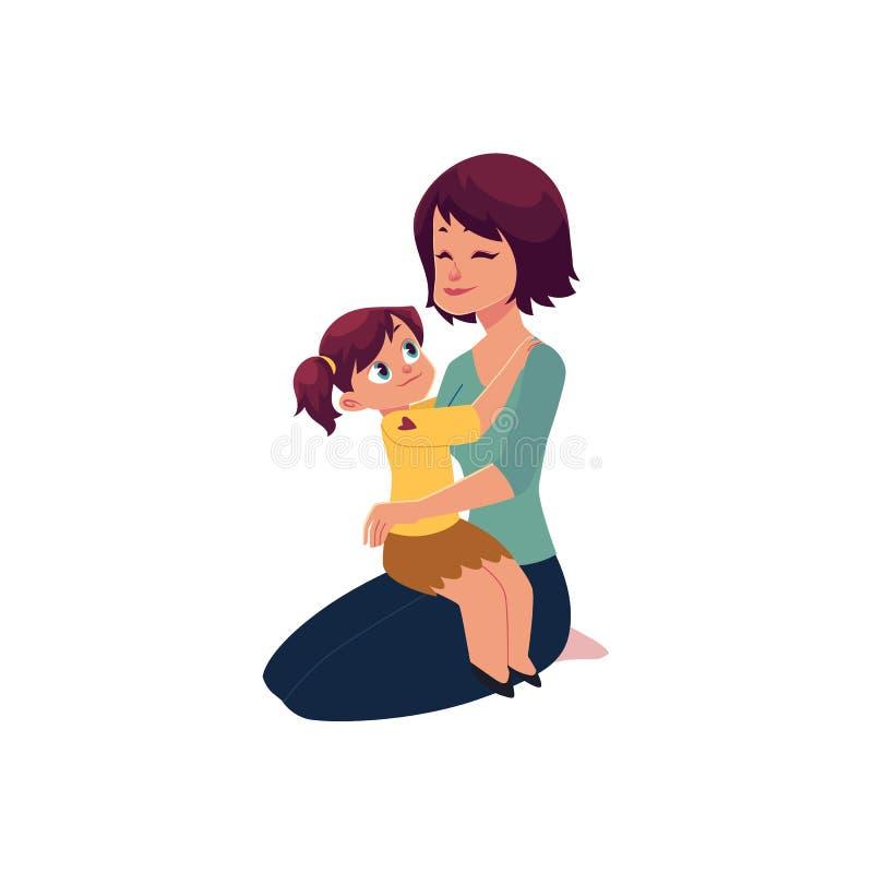 Обнимать мамы и дочери, обнимая один другого иллюстрация штока