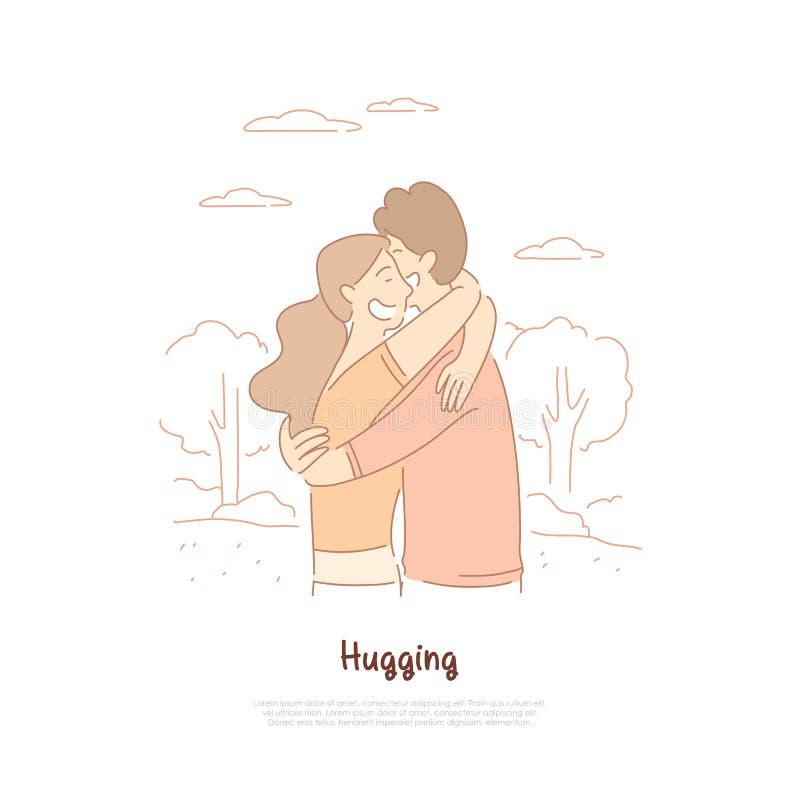 Обнимать парня и девушки, друзья, пары в любов имея дату, жена и супруг гуляя в шаблоне знамени парка бесплатная иллюстрация
