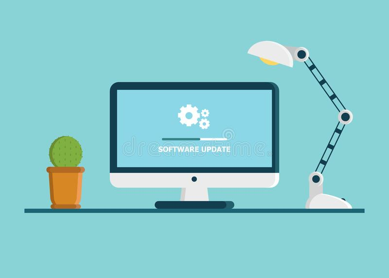 Обновление системного программного обеспечения, данные уточняет или синхронизирует с баром прогресса на экране иллюстрация иллюстрация вектора