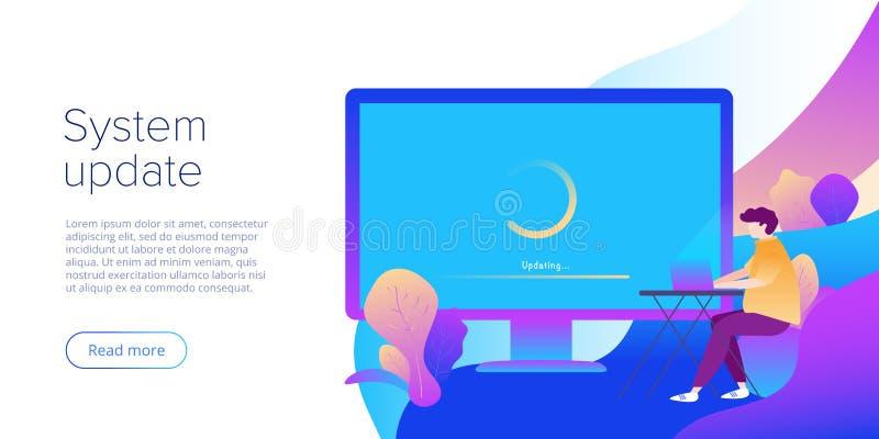 Обновление системы или концепция программной инсталляции в плоском дизайне вектора Творческая иллюстрация для подъема компьютера  иллюстрация вектора