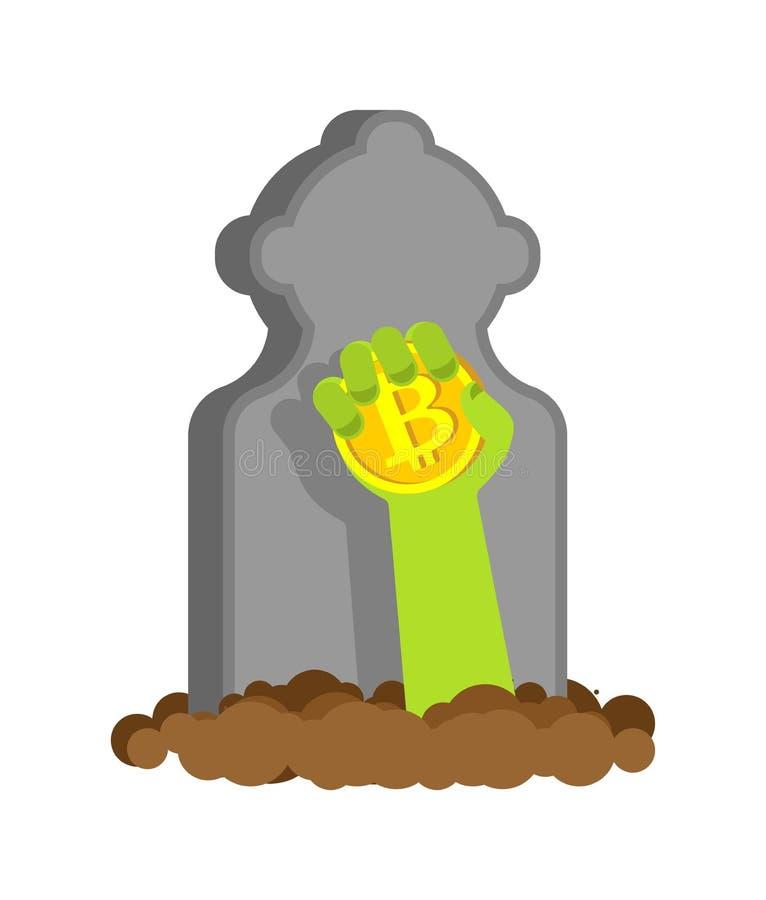 Обновление Bitcoin в руке зомби - возрождении Воскрешенное cryptocu иллюстрация штока