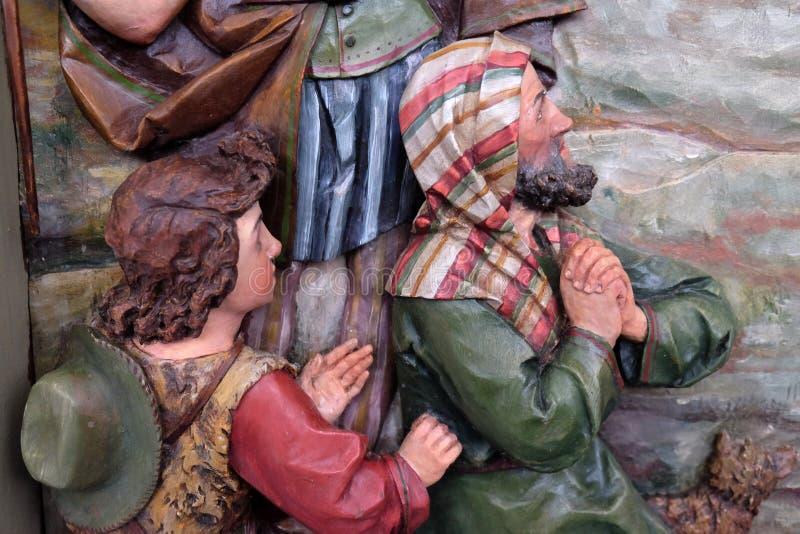 Обожание чабанов, сцена рождества стоковые фото