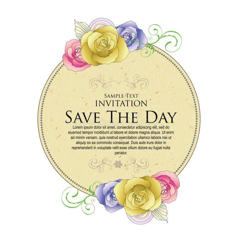 Обозначьте цветок свадьбы круга винтажным исключением иллюстрация штока