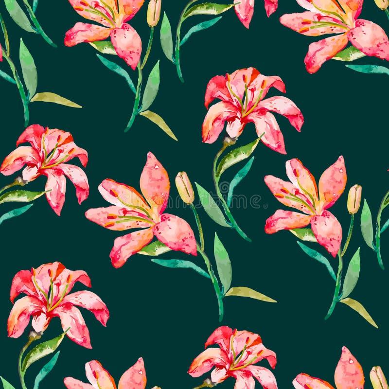 обои вектора флористической картины безшовные Цветки лилий иллюстрация вектора