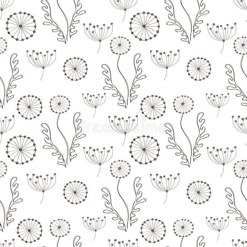 обои вектора флористической картины безшовные Черно-белой предпосылка нарисованная рукой с различными цветками и листьями бесплатная иллюстрация
