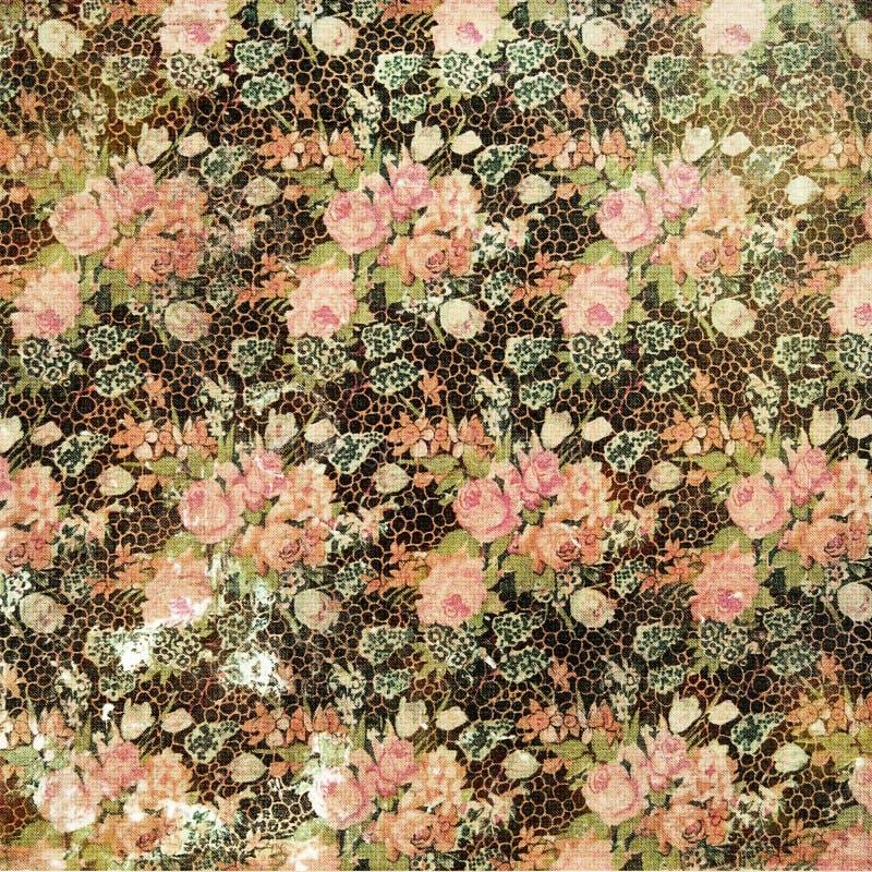 Обои год сбора винограда Grungy огорченные флористические розовые стоковые изображения