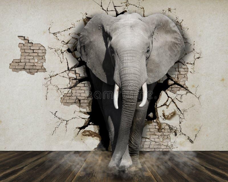 Обои для слона стен приходят из стены в комнату перевод 3d стоковые фото