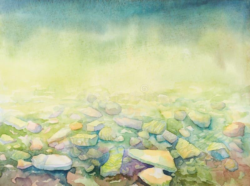 Обои для устройства таблетки с нарисованной рукой глубиной моря акварели и пляж подпирают камешки бесплатная иллюстрация