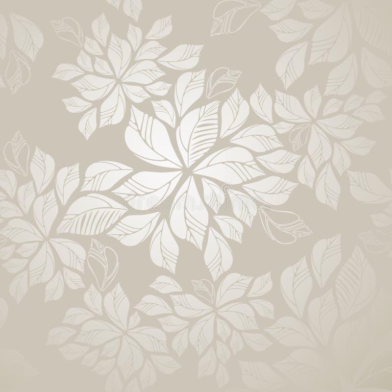 обои листьев безшовные серебряные иллюстрация штока