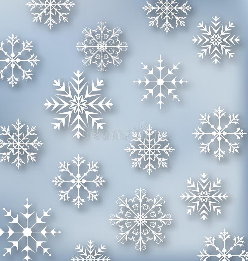Обои рождества голубые с снежинками комплекта иллюстрация штока