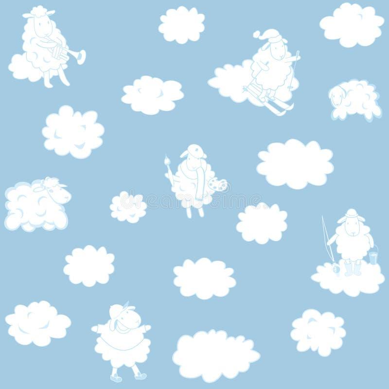 Обои с облаками для комнаты ребенка иллюстрация вектора