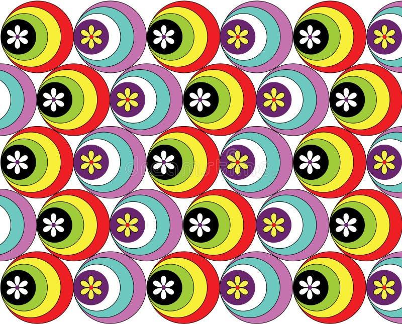 Обои с покрашенными кругами и цветками иллюстрация вектора