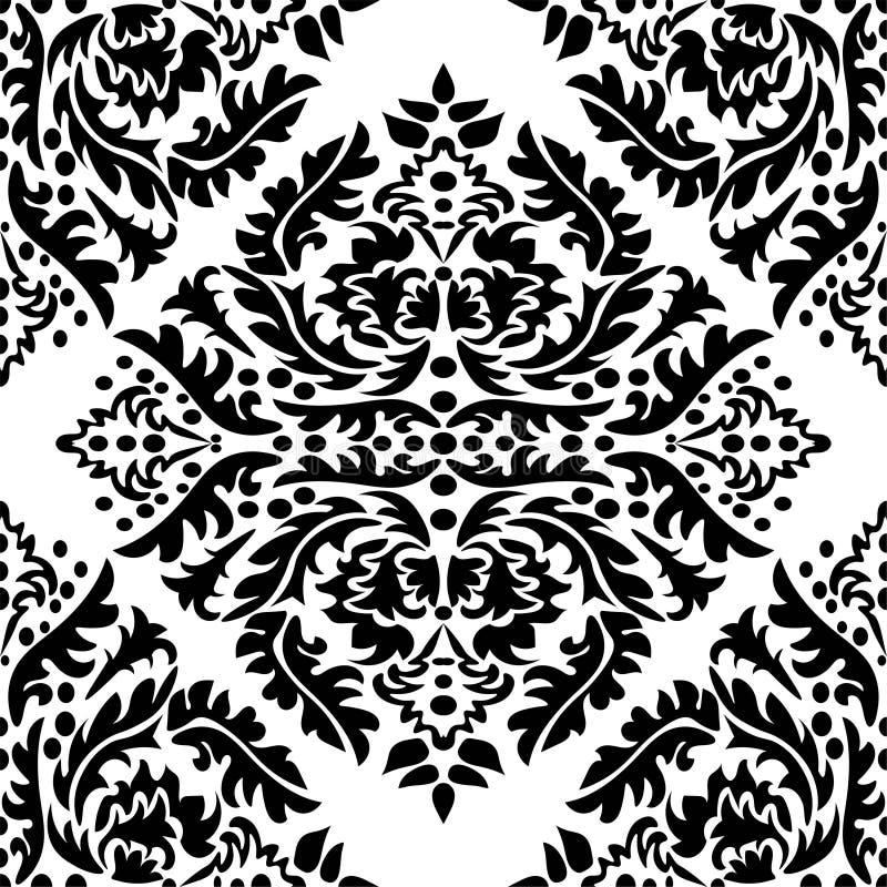 Обои штофа r Черно-белая текстура Флористический орнамент иллюстрация вектора