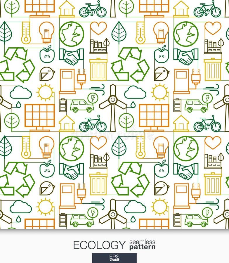 Обои экологичности Зеленой картина соединенная энергией безшовная иллюстрация вектора