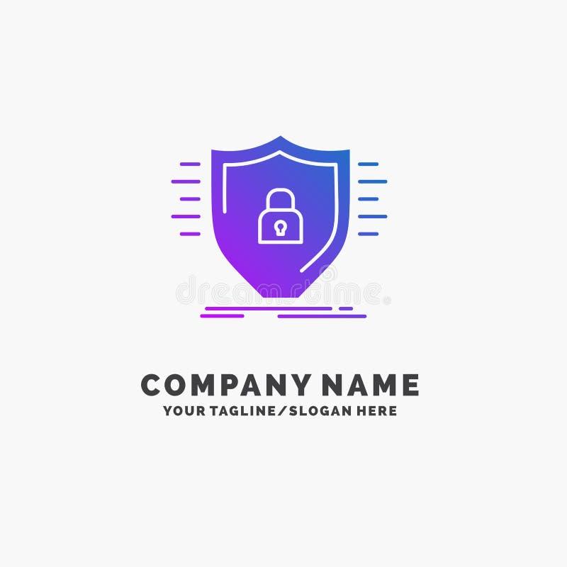 Оборона, брандмауэр, защита, безопасность, шаблон логотипа дела экрана пурпурный r иллюстрация штока