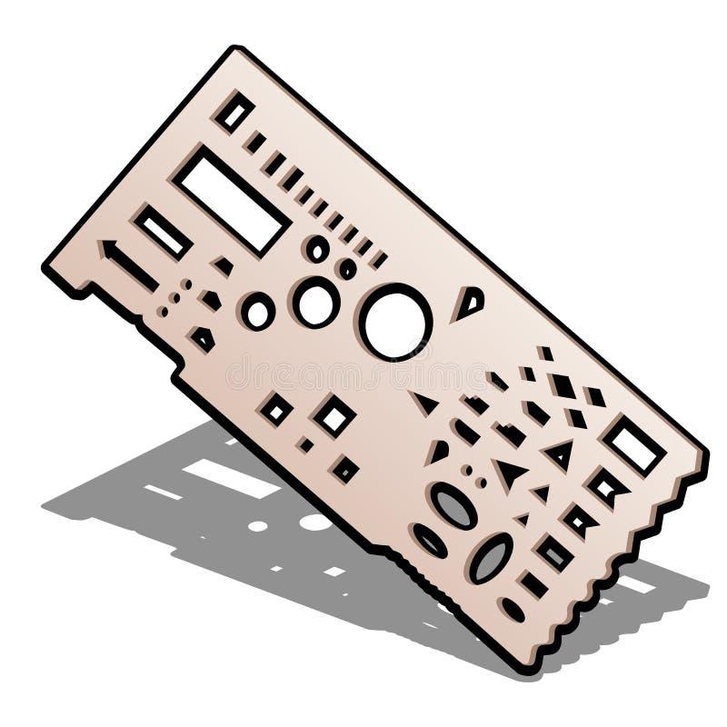 Оборудование для рисовать, геометрический правитель для притяжки специальная тактическая карта Прокладчик боевого задания Старый  иллюстрация вектора