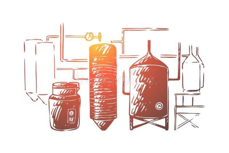 Оборудование заваривать, автоматизация процесса принятия лагера, ремесло винзавода, ликеро-водочный завод, фабрика выпивки, кипя  бесплатная иллюстрация