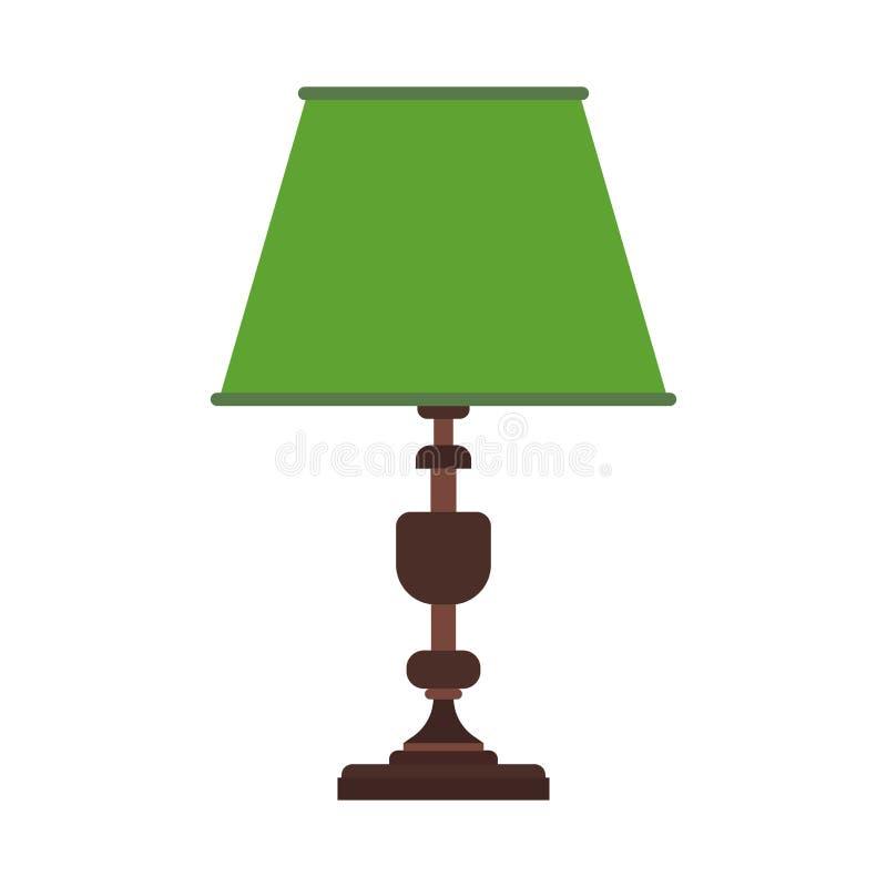 Оборудование значка вектора стола лампы чтения Мебель таблицы офиса электрической лампочки яркая Символ простоты внутреннего муль иллюстрация штока
