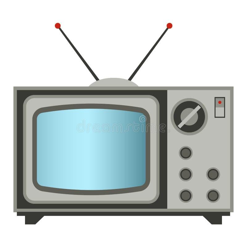 Оборудование настольного компьютера личного оборудования ретро дела технологии вектора ТВ старого классического античного и телев иллюстрация штока