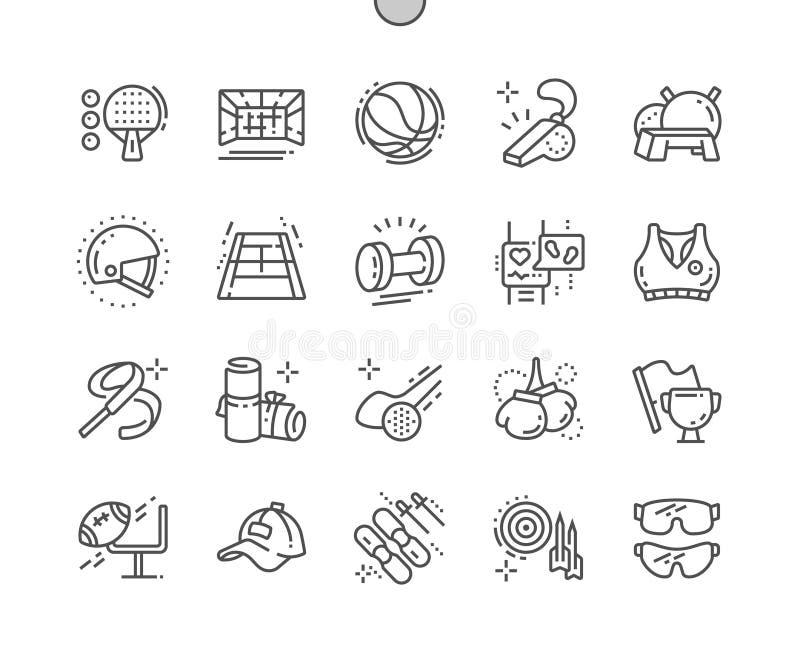Оборудование спорта Хорошо произвело линию решетку 2x значков 30 совершенного вектора пиксела тонкую для графиков и Apps сети бесплатная иллюстрация