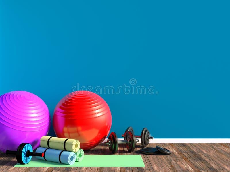 Оборудование спортзала для тренировки фитнеса с аэробными fitball, гантелями и циновкой йоги в комнате бесплатная иллюстрация